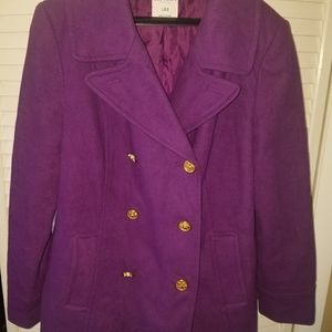 Old navy bright purple Peacoat double breasted